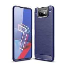 Capa Zenfone 7 ZS670KS TPU Fibra de Carbono Azul