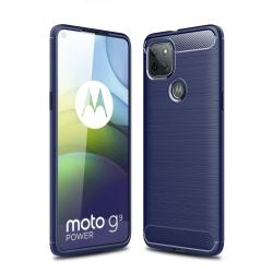 Capa Motorola Moto G9 Power TPU Fibra de Carbono Azul