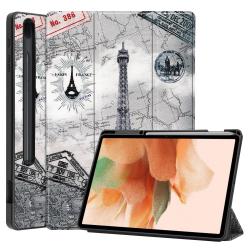 Capa Samsung Tab S7 FE Smart e Pen Slot Torre Eiffel
