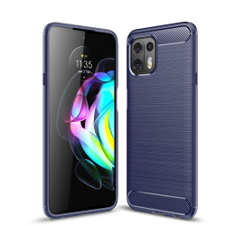 Capa Motorola Edge 20 LITE TPU Fibra de Carbono Azul