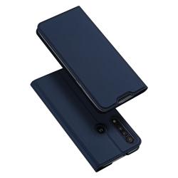 Capinha Motorola Moto G8 Plus Flip Couro Azul