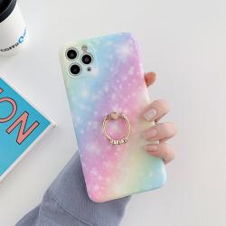 Capa iPhone 12 Glitter com Anel Azul-Roxo