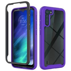 Capa Motorola One Fusion TPU e Plástico Roxo