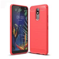 Capa LG K12+ Plus TPU Fibra de Carbono Vermelho