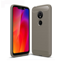 Capa Motorola Moto G7 Play TPU Fibra de Carbono Cinza