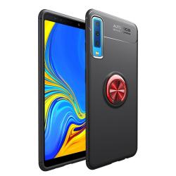Capa Samsung A7 2018 com Anel de Suporte Preto-Vermelho