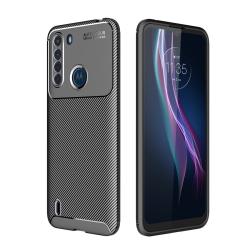Capa Motorola One Fusion TPU Fibra de Carbono Preto