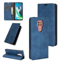 Capa Flip Couro para Motorola Moto G9 Play Azul