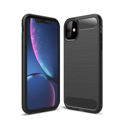 Capa Iphone 11 TPU Fibra de Carbono Preto