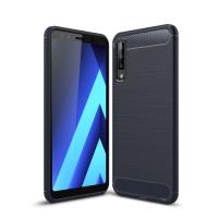 Capa Samsung Galaxy A7 2018 Fibra de Carbono - Azul Marinho
