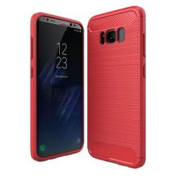 Capa Galaxy S8 Textura Fibra de Carbono Vermelho